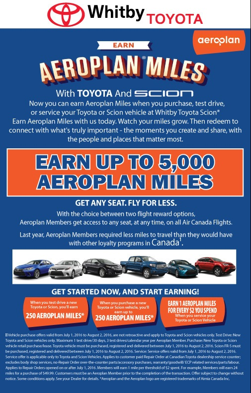 GET AEROPLAN MILES WITH TOYOTA PURCHASES / SERVICE / TESTDRIVES