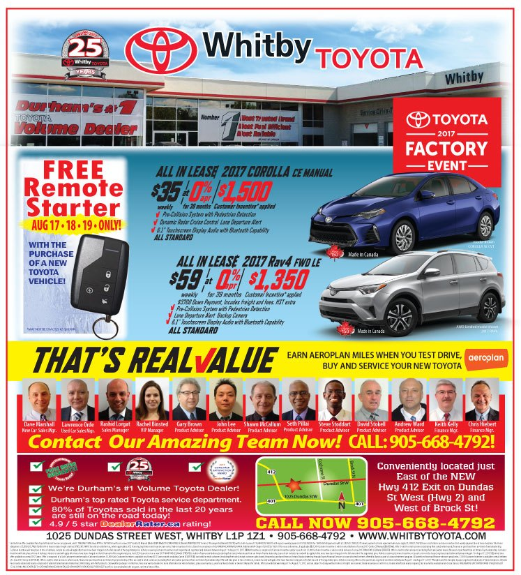THE WHITBY TOYOTA 2017 FACTORY EVENT IS HERE!