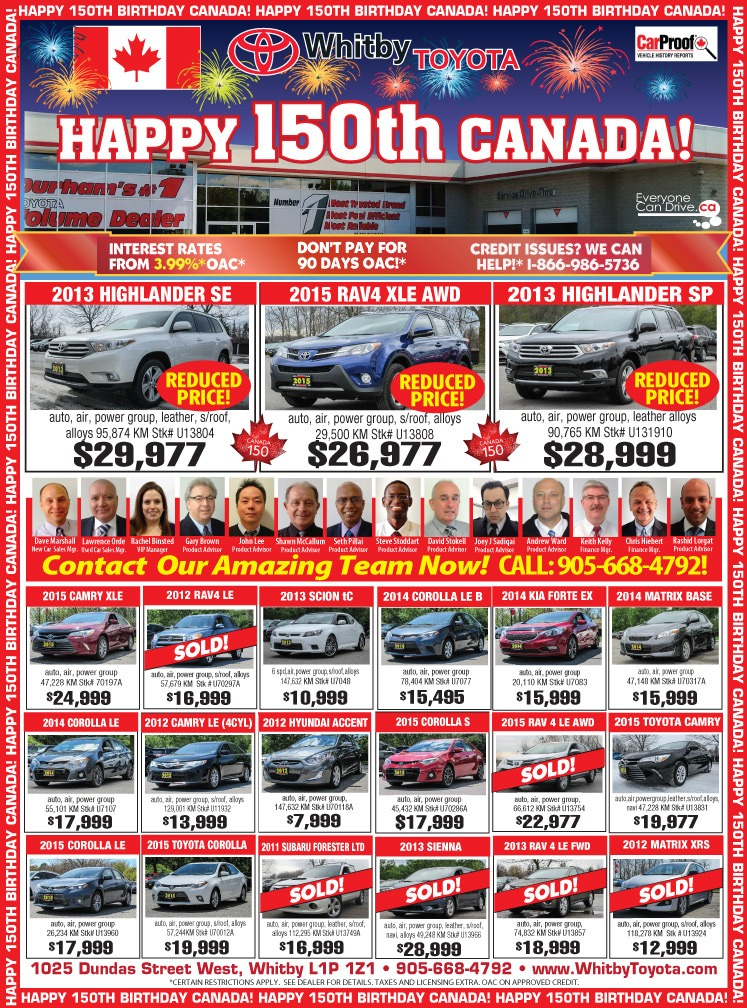 Whitby Toyota Pre-owned HOT SUMMER DEALS!