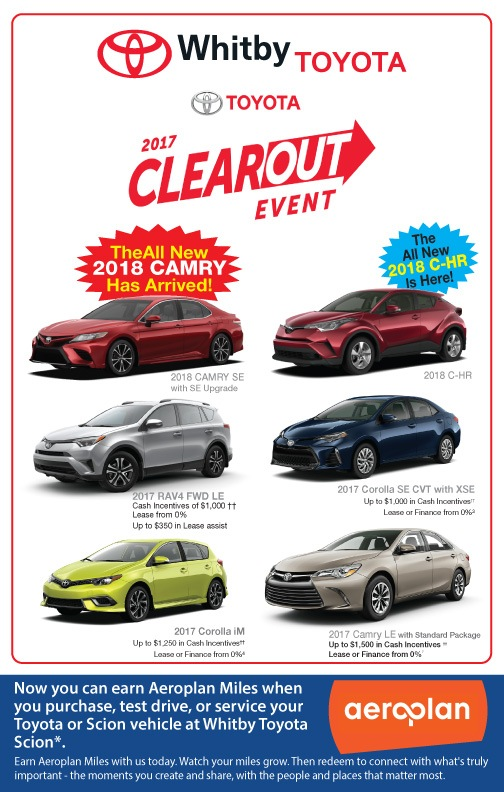 THE WHITBY TOYOTA 2017 CLEAROUT EVENT IS HERE!
