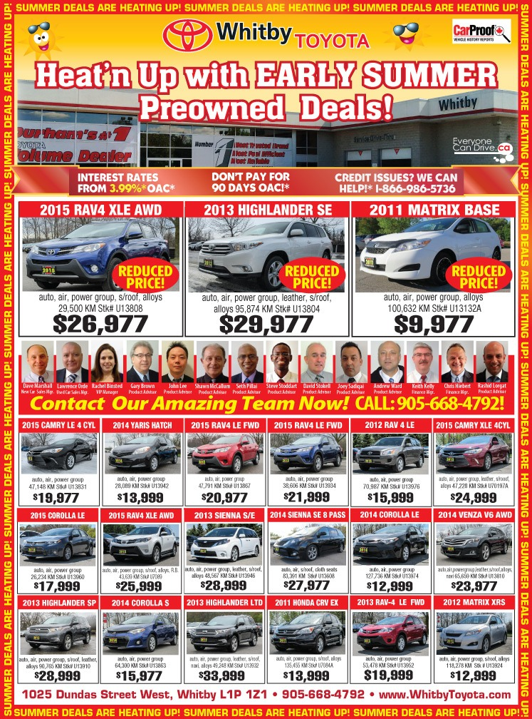 Whitby Toyota Pre-owned SPRING DEALS!