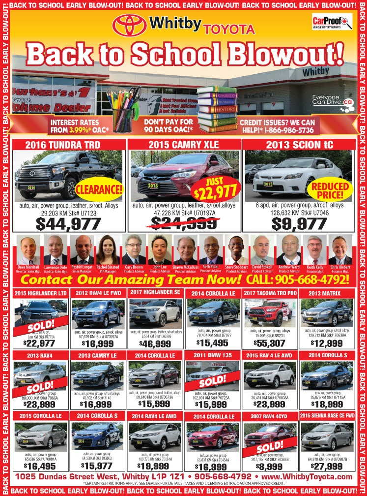 Whitby Toyota BACK TO SCHOOL DEALS!