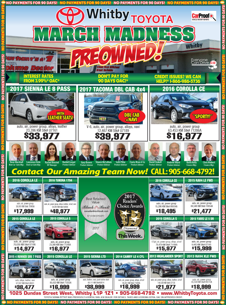 Whitby Toyota USED VEHICLE DEALS!