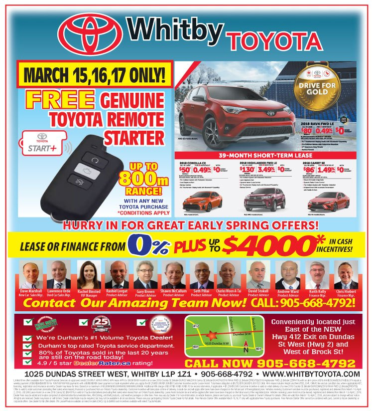 FREE TOYOTA PLUS REMOTE STARTER 3 DAYS ONLY!!