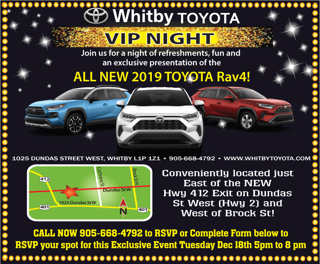 VIP NIGHT DEC 18 5 – 8PM! ALL NEW 2019 RAV4 UNVEILING!